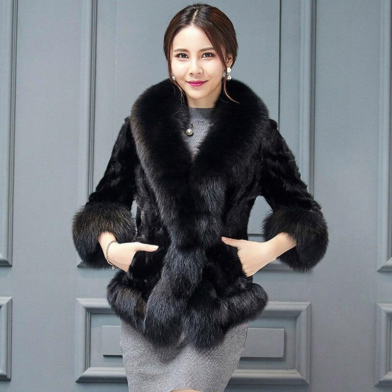 noir D'hiver Femmes Rouge Mode S Fourrure Vêtements Vison Faux De Fox Avec Manteau Nouvelle 6xl Col Veste wqxRwIa4