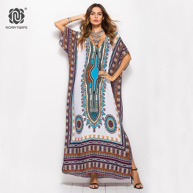 1e8faf8d97 NORA TWIPS Hot Sale Indie Folk Batwing Sleeve Ankle-Length Dresses Women  Plus Size Loose Polyester Summer Dress 2018 vestidos