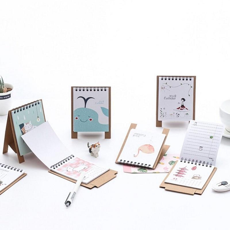 19*8.3cm Creative Desk Standing Paper Multifunction Organizer Schedule Planner Notebook 2018 Year New Kawaii Cartoon Calendar Calendar Office & School Supplies