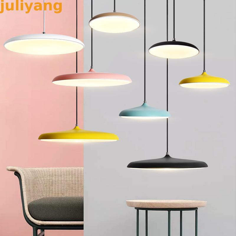 Moderne led plafond pendentif lumière Art Designer créatif métal fer ufo plaque ronde lumières luminaire mince nordique multicolore suspendus