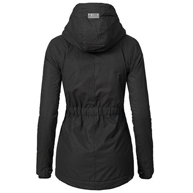 Windproof Slim Outerwear Winter Warm Coat Female Fashion Elastic Waist Zipper Pocket Hooded Drawstring Overcoats Autumn Clothes 1