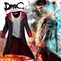 Devil May Cry Dante Jacket Cosplay Costume DMC 5 PU Leather Unisex Trench Halloween Uniform For Men Women Adult Long Coat XL 4XL