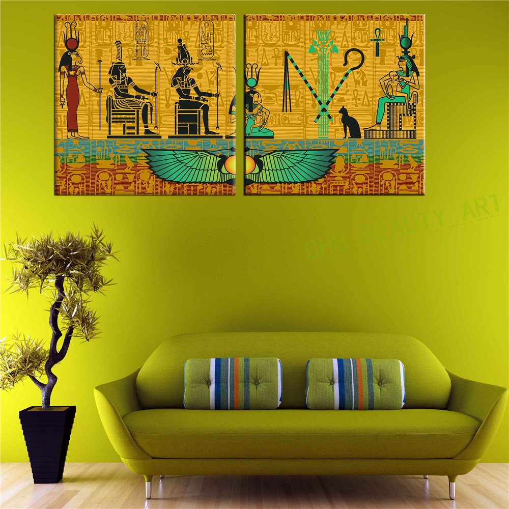 2 piece egyptian decor modern abstract canvas painting for Modern decorative pieces