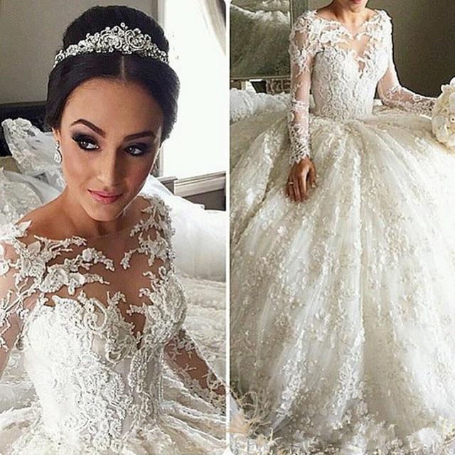 Vestido De Noiva Manga Longa Princesa Long Sleeve Wedding Dress Lace Princess Ball Gown 2017 Wedding Dresses Luxury Casamentos