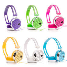 Rockpapa Love Heart Pattern Overhead DJ Styles Headphones Headset for Kids Children Boys Girls Teens Adult