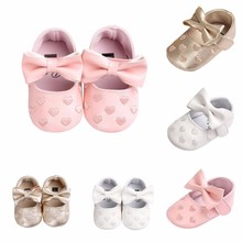 Fashion Toddler Kids Baby Girls Shoes Infant Baby Leather Bowknot Soft Sole Newborn Prewalker Sneakers