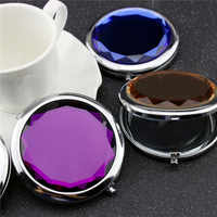 1pc Crystal Makeup Mirror Portable Round Folded Compact Mirror Making Up Espelho De Bolso For Personalized Wedding Gift