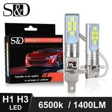 2個H1 H3 led電球超高輝度1400LM 6500 18kホワイト駆動車のライトdc 12 12v 24 12vの自動車電球
