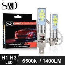 2 pezzi H1 H3 lampadine a LED fendinebbia per Auto Super Bright 1400LM 6500K bianco guida Auto luci DC 12V 24V lampadina automatica