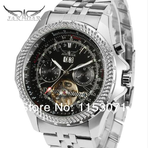 JARAGAR hommes montres Tourbillon mâle horloge en acier inoxydable bande mécanique montre-bracelet Horloges Mannen