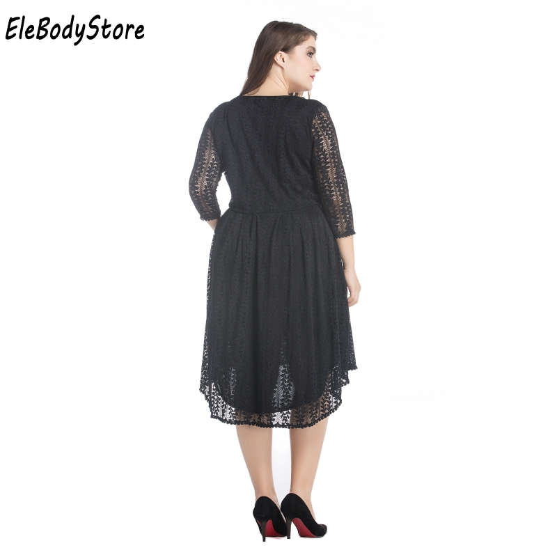 3c2844cddf4 ELEBODYSTORE Plus Size 4XL 5XL 6XL 7XL Women Elegant Casual Sexy Black Lace  Midi Summer Dress 2017 Woman Dresses Evening Party-in Dresses from Women s  ...