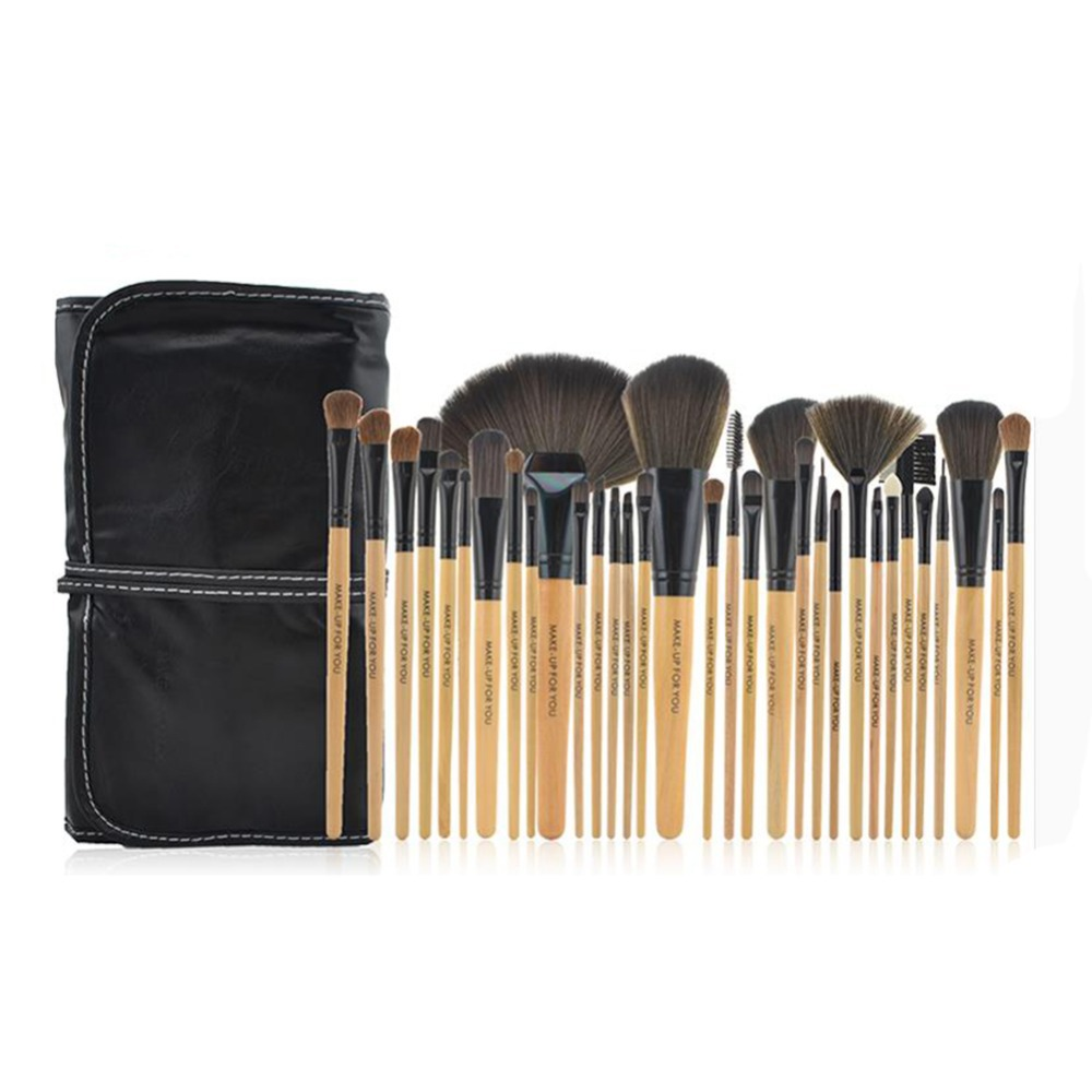 POPFEEL Natural 32pcs Professional Make up Brushes Set Soft Cosmetic Eyebrow EyeShadow Foundation Makeup Brushes Pouch Bag Case