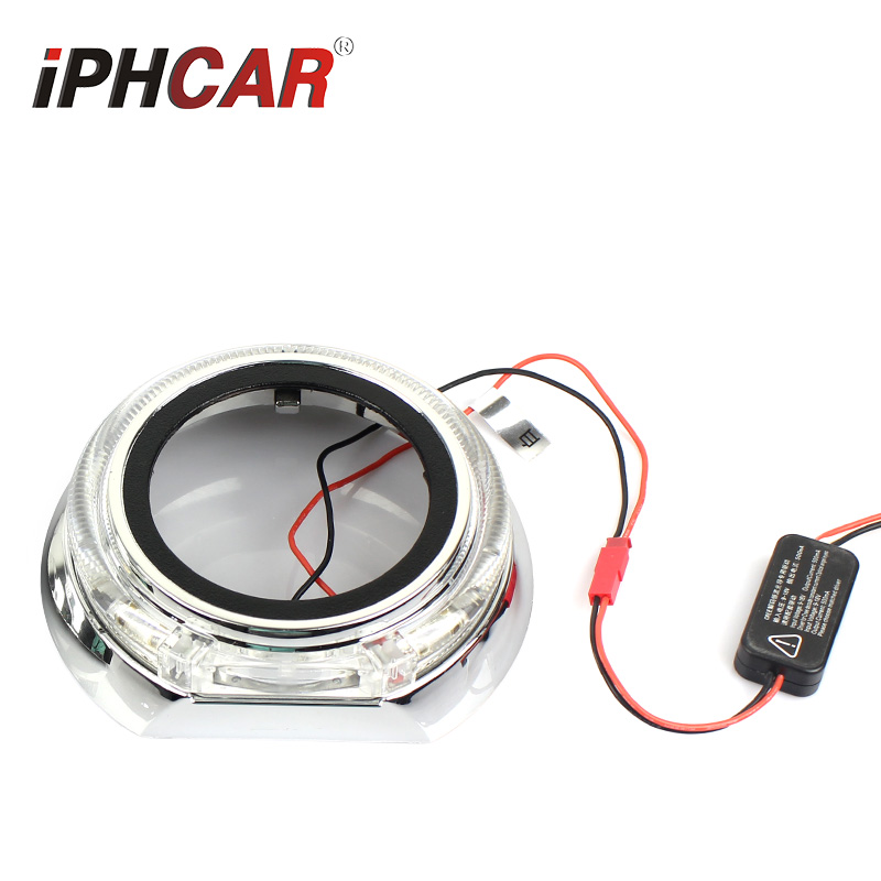 Free Shipping IPHCAR Car Styling China Car Accessories Hid Bi Projector Lens LED Angel Eyes Projector