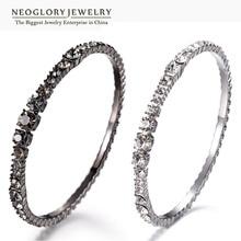 Neoglory checa rhinestone negro plateó los brazaletes y pulseras para las mujeres de joyería de moda regalos de cumpleaños 2017 nuevos j1 wst