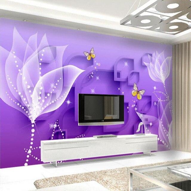 3D Floral Schmetterling Tapete Lila Wandbild vlies für Wohnzimmer ...