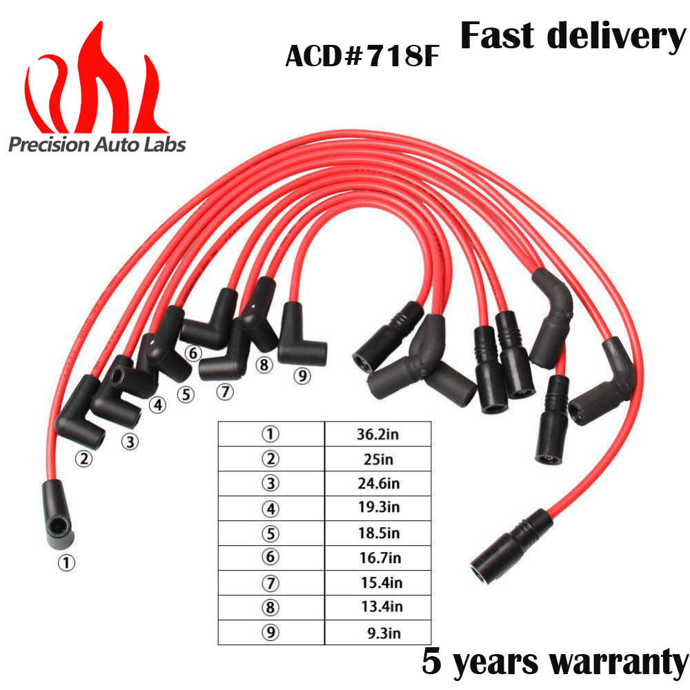 PRECISION AUTO LABS 7mm Spark Plug Wire Set Ignition Wire Kits for Chevrolet for Buick for Cadillac V8