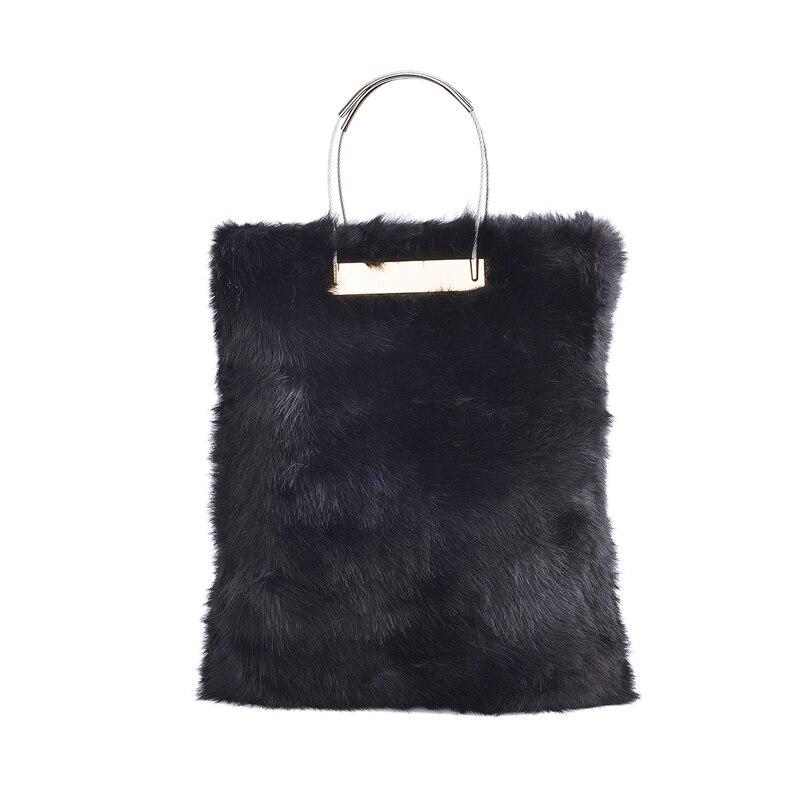2018 Stylish Winter Black Fur Women Handbags Luxuy Handle Totes Bag Designer Clutch Purse Las Leather Bolsa Feminina In Clutches From Luggage Bags