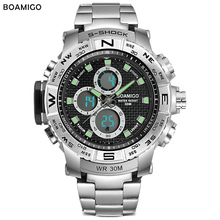 цена на BOAMIGO waterproof digital watch men Sport Stainless Steel Double display Multiple Time Zone Quartz wristwatch high quality 2019