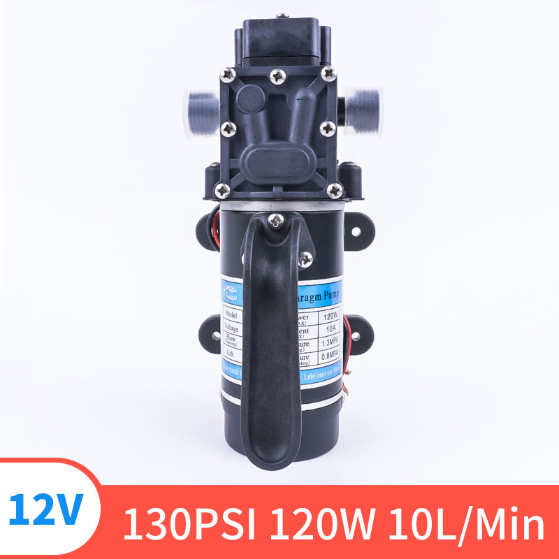 12V 24V 120W 130PSI 10L / Min Type Electric Water FIlm High Pressure Self-Priming Pump For Garden Return Valve
