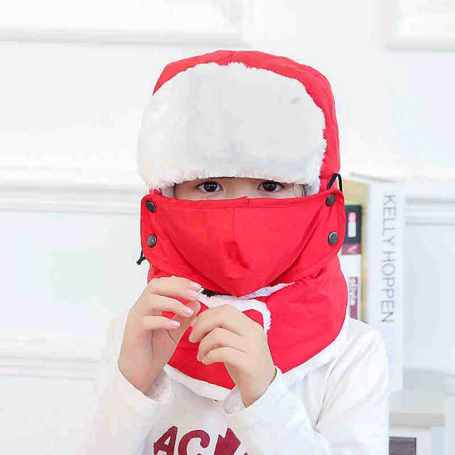 73cfa37fa5d 11.11 hats 2018 New Kids Children Winter Black Blue Solid Trapper Bomber  Hats With Neck Warm Scarf Masks For Boys Girls