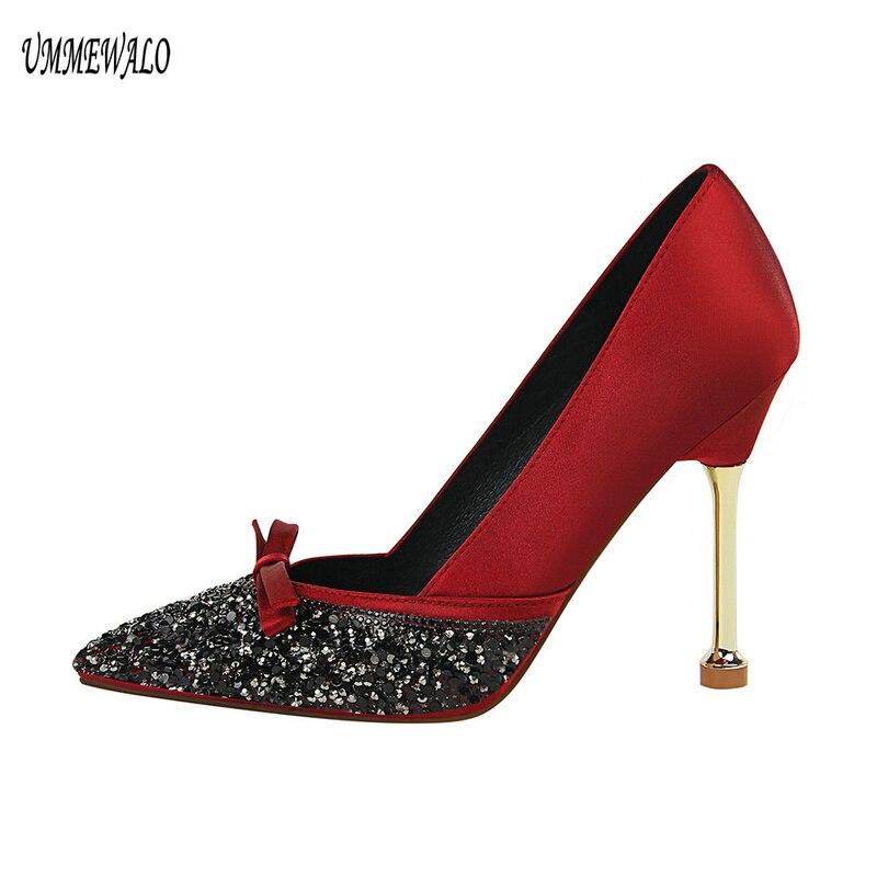 UMMEWALO High Heels Shoes Women Bling Design Pointed Toe Pumps Women Super High Shoes Ladies Shoes