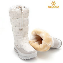 2016 new winter high women boots plush warm lady shoe plus size 35 to 42 easy wear zipper up girl white colour flower snow boots