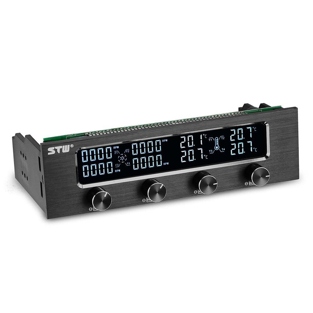 STW Pc 5,25 pulgadas unidad completa de aluminio cepillado 4 canales ventilador PWM controlador con pantalla LCD