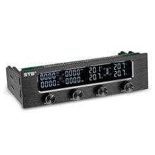 Stw pc 5.25 Polegada drive bay totalmente escovado alumínio 4 canais pwm ventilador controlador com tela lcd