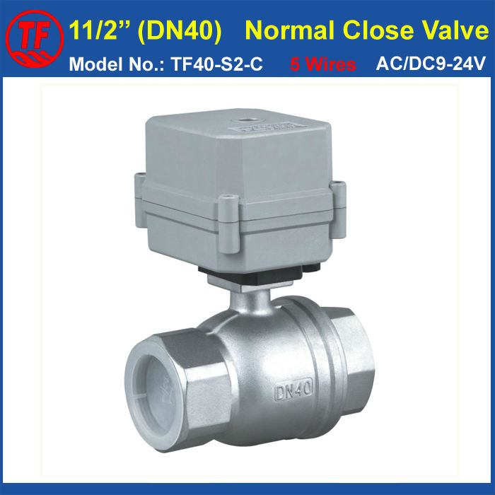 Torque 10Nm On/Off 15 Sec 2-Way Stainless Steel 11/2 DN40 Actuated Valve Normally Open/Close AC/DC9-24V 2/5 Wires tf10 b2 c ac dc9 24v 3 wires 2 way brass 3 8 dn10 electric motorized valve metal gear on off 5 sec for water application