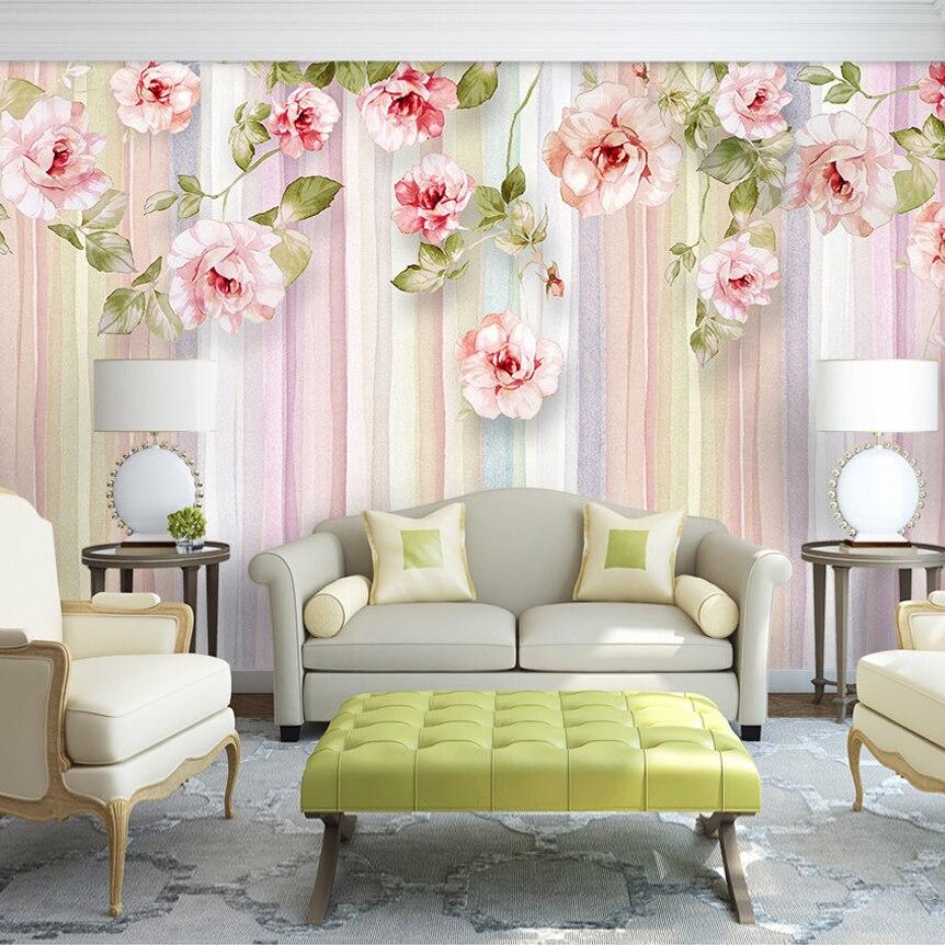 Custom 3D Photo Wallpaper European Style Rose Flower ...