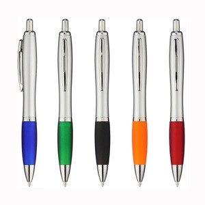 Image 3 - Lot 50 adet geri çekilebilir plastik kabak tükenmez kalem, gümüş varil tükenmez, ücretsiz lazer kazınmış özel promosyon hediyeler, uygun reklam
