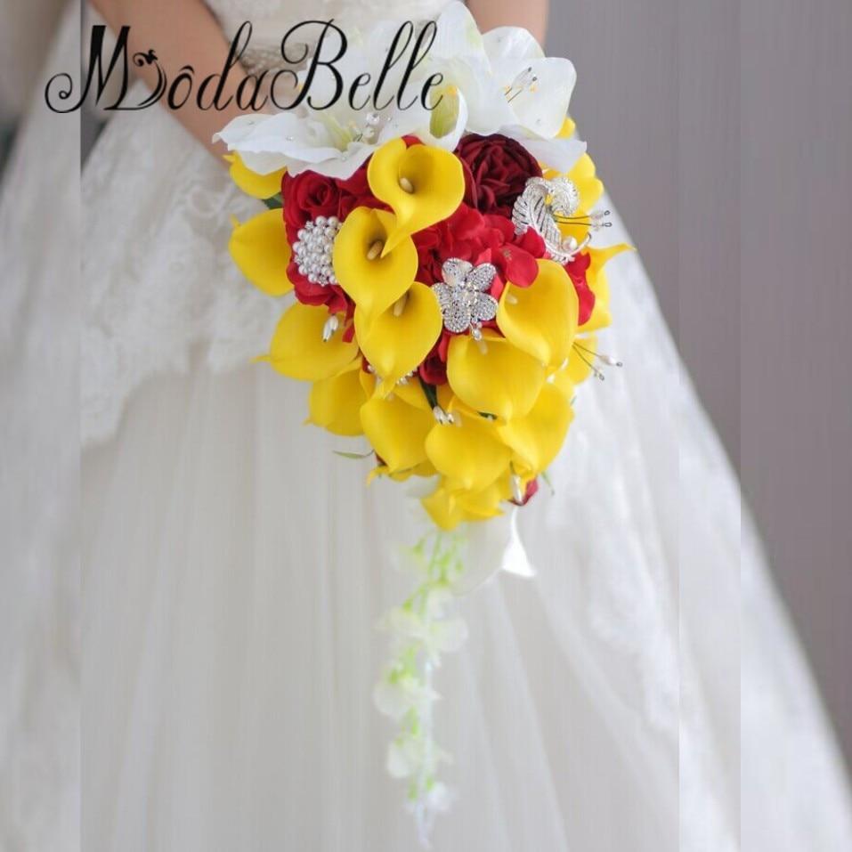 Bouquet Cascata Sposa.Modabelle Artificiale Calla Lily Cascata Bouquet Da Sposa Diamante