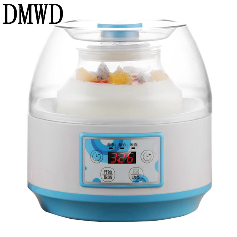 DMWD Household Electric Yogurt Maker Multifunction natto Leben fermenter Automatic rice wine fruit Enzyme Machine 2L Glass Liner purple yogurt makers rice wine natto machine household fully automatic yogurt glass sub cup liner multifunctional kitchen helper