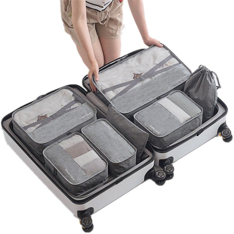 7pcs/set Men Travel Bags Sets Waterproof Packing Cube Portable Clothing Sorting