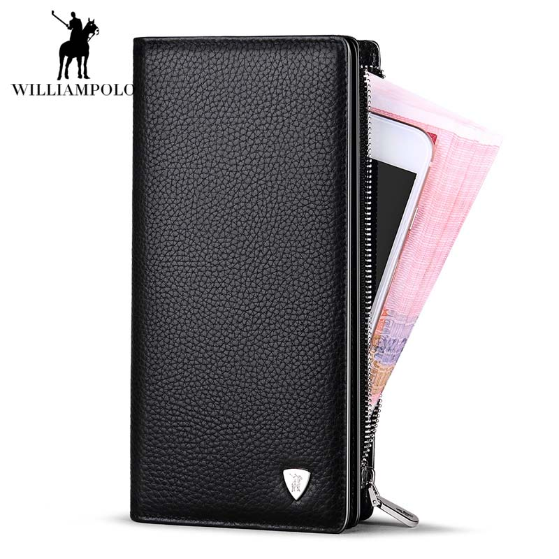 2018NEW Men Wallets Luxury Brand Men Wallet Leather Genuine Cowhide Men's Clutch Bags Hot Business Casual Purses Man Bag POLO128