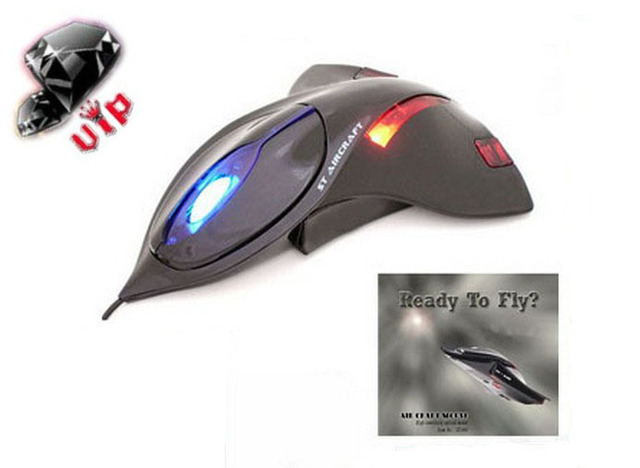 Airplane Aircraft Jet Mouse Computer Notebook PC 3D Optical Mouse USB 2.0 Wired Mice 1200dpi LED Lights