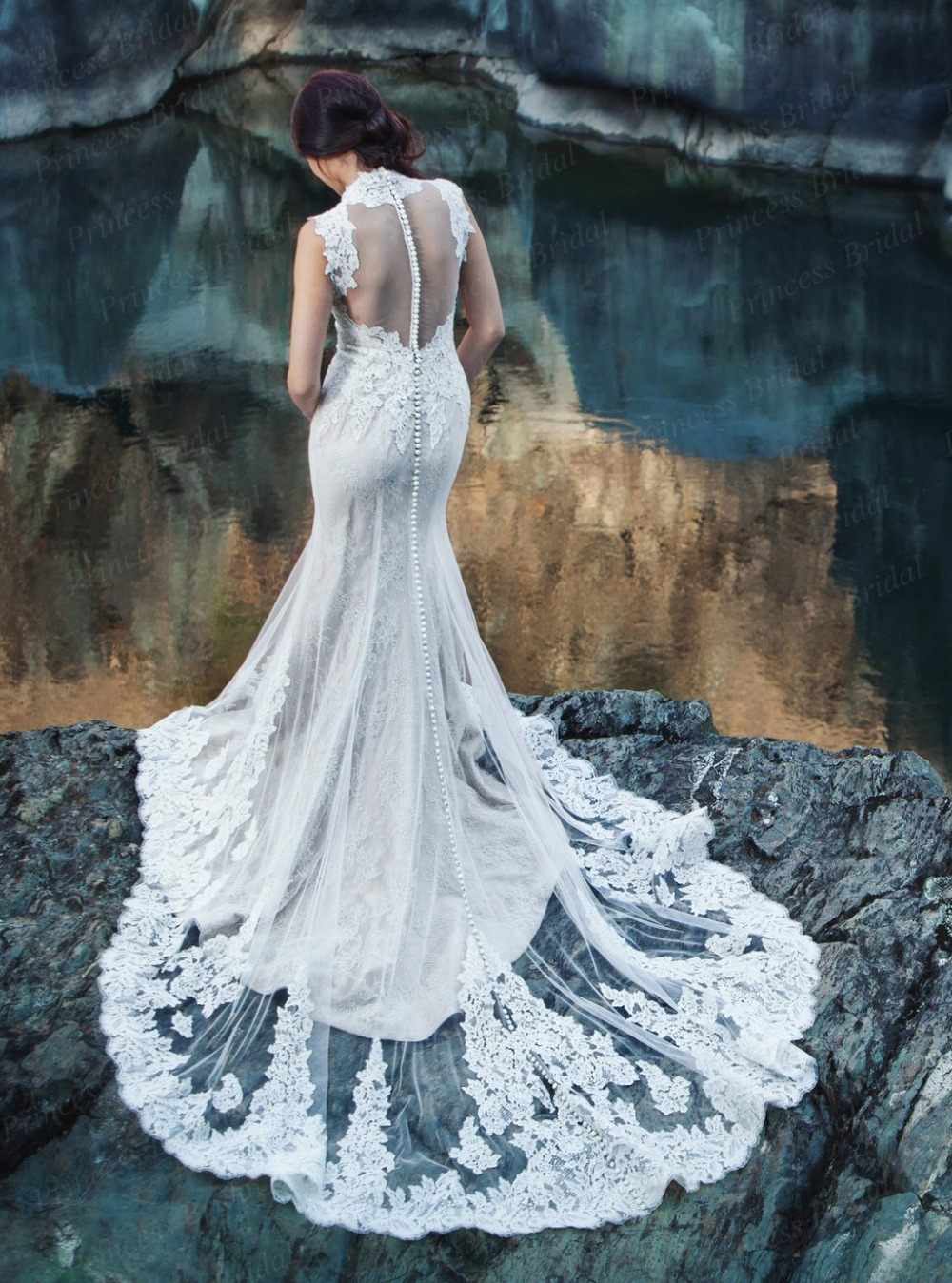 Free Shipping Boho Wedding Gown Mermaid V Neck Transparent Back ...