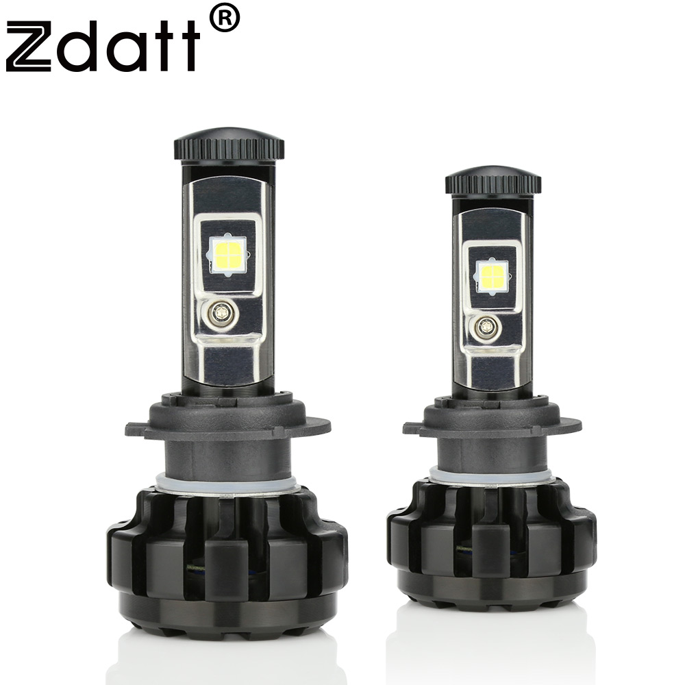 zdatt h7 led bulb canbus 14000lm 100w headlight h4 h8 h9 h11 9005 hb3 car led light 12v headlamp automobiles 6000k error free [ 1000 x 1000 Pixel ]