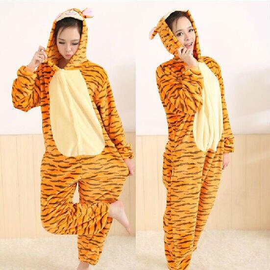 Winter Jump Tiger Plush Pajamas Cartoon Animal Pajama Sets Women and men Couple Household Clothes Fleece Sleepwear Free Shipping