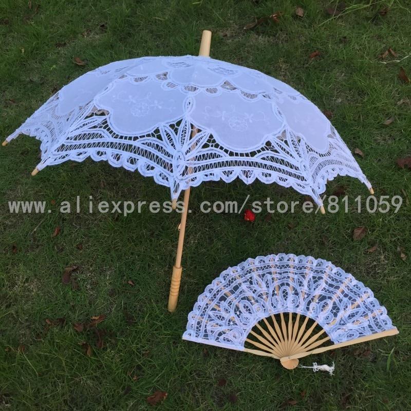 משלוח חינם סט אחד לבן או בז 'תחרה מאוורר חתונה מטריה תחרה שמשיות עבודת יד רקמה