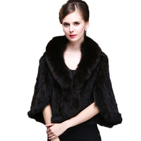 2019 Fashion Knitted Mink Fur Poncho With Real Fox Fur Trimming Women Real Fur Shawl Ladies Luxury High Quality Mink Shawl