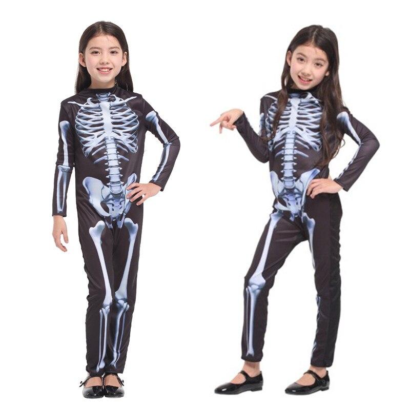 New Girls Tight Skeleton Jumpsuit Cosplay Children Halloween Devil Demon Costume Kids Zombie walking dead Masquerade party dress