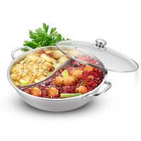 30cm 2 Fach Eintopf Edelstahl Kochen Suppe Topf Mit Glas Deckel Sieb Löffel Küche Kochgeschirr Für Induktion Herd