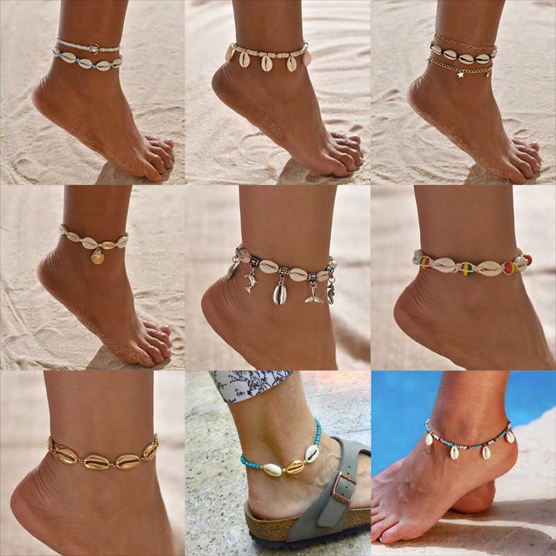 Vintage Boho Sea Shell Anklets สำหรับผู้หญิงเต่า Dolphin ลูกปัดฤดูร้อนชายหาดข้อเท้าสร้อยข้อมือขา 2019 เครื่องประดับ Bohemian