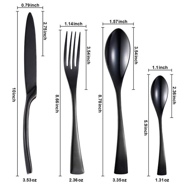 24Pcs/set dinnerware set Stainless Steel Black Cutlery Dinnerware Tableware jogo de talheres fork spoon knife  jogo de jantar