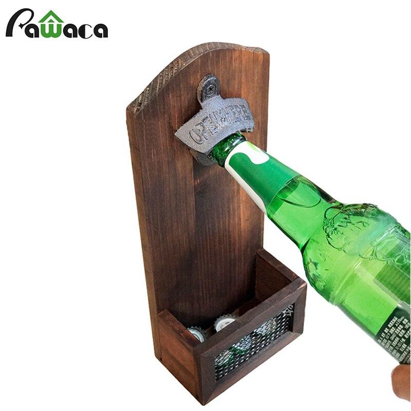 Vintage Style Wall Bottle Opener Wall  Mounted Magnetic Bottle Opener Cap Catcher Wooden Beer Bottle Opener For Home Bar Kitchen