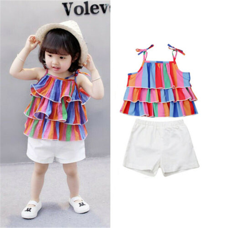 b145d499c342f Toddler Girls Kid Birthday Tutu Outfit Set Top Skirts T-shirt Pink Skirt  Children Enfant Kids Girl Summer Clothing 2pcs Set