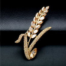 Elegant Wheat Brooch Luxury Crystal Female Brooches Pins Jewelry Beautiful Ear of Broach Gift for Women Men Accessories