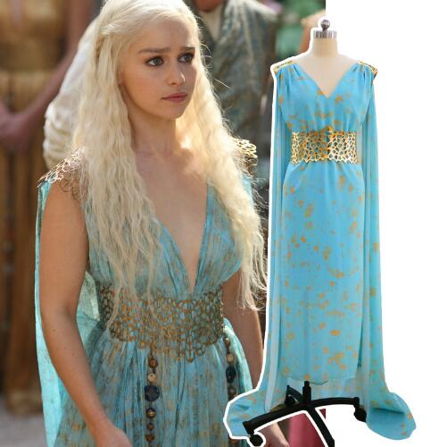 free shipping Game of Thrones Cosplay Daenerys Targaryen Wedding Dress Costume  Halloween party long Blue Dress ... f6ec89b6b0b