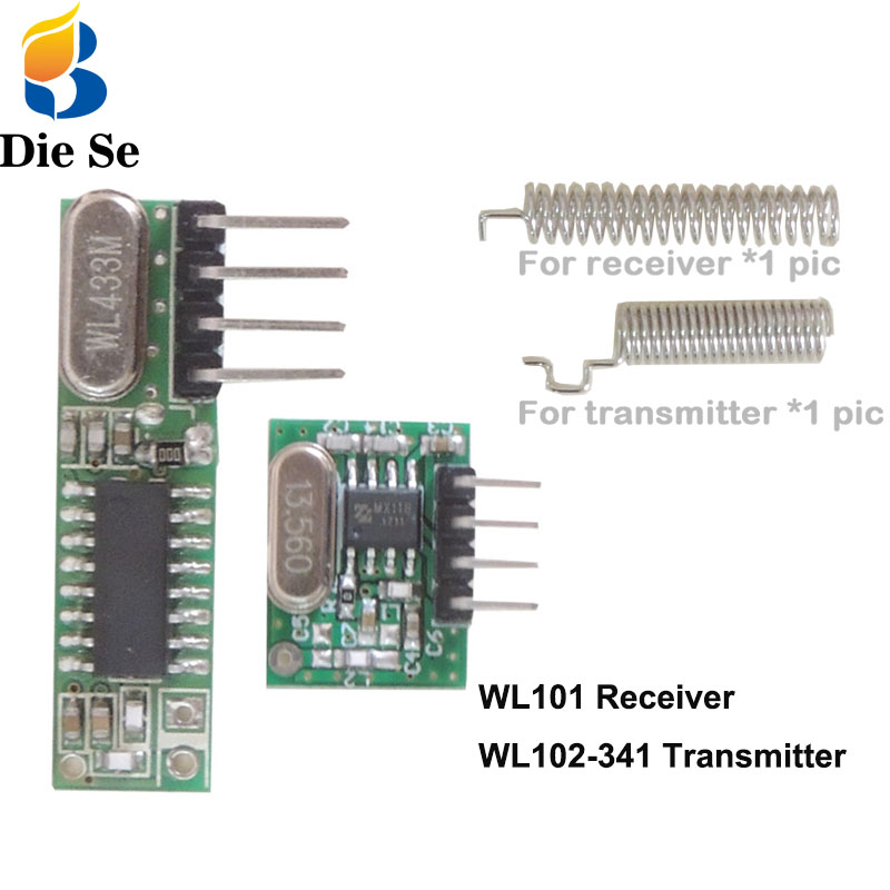 433Mhz RF Receiver And Transmitter Module Switch With Antenna DIY 433 Mhz Remote Control For Arduino Uno Kit